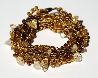 Citrine bracelet Citrine Crystal Stones Crystal bracelet Crochet bracelet Wrap bracelet Beach bracelet Crocheted wrap bracelet Citrine Chips