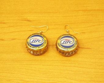Handmade beer bottle cap earrings