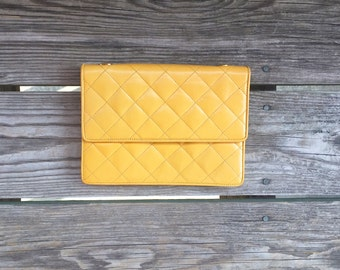 Italian Yellow Leather Quilted Clutch