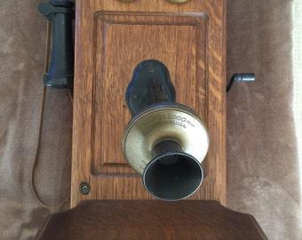 Antique Kellogg Oak & Brass 1901 Wall Crank Telephone