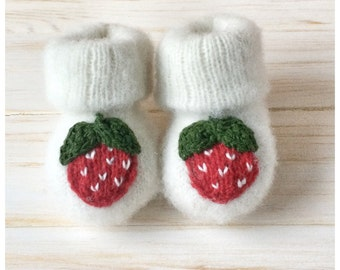 Newborn Knitted Baby Booties Baby Socks Strawberry Fruit Baby Socks  Newborn Booties  Warm Baby Socks  Wool Baby Socks