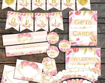Baby Shower Decorations Pack  Blush Pink and Gold Girl Baby shower package  Floral Baby shower decor Baby Girl Its a girl party decorations