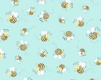 Susybee's Flying Buzzing Bees on Aqua 100% cotton premium quilting fabric (SB14)
