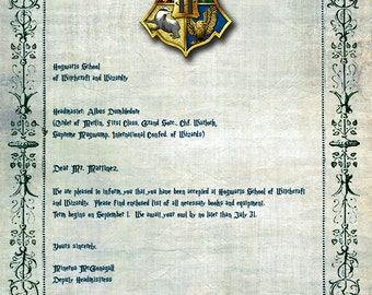 """Custom Personalized Hogwarts Acceptance Letter