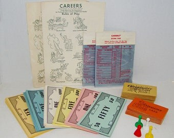 Vintage Careers Game Pieces Play Paper Money Magic Slate Pads, Prop Money, Career Game Parker Brothers Game, Game Decor, Craft Supplies