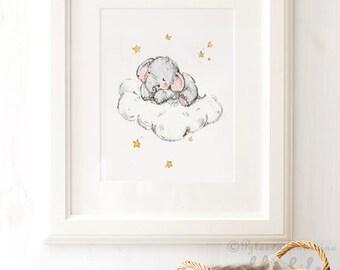 Baby Elephant Cloud , Elephant Stars Print, Elephant  Nursery Art, Kids Wall Decor, Nursery Art