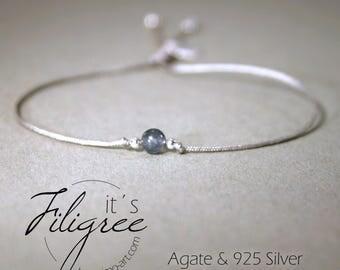 Thin bracelet with genuine agate Pearl Grey & 925 sterling silver, adjustable, filigree bracelet, Friendship Bracelet, bracelets