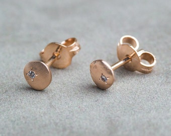 Delicate Earrings with Small Round Cut Diamonds set in 14K Pink Gold, Unique Gold and Diamonds Studs, Tiny Pink Gold Studs, Zehava Jewelry