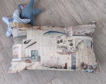 """Sea-Life 30x50cm (12""""x20"""") Pillow Cover, Cushion in Handmade, Nautical Throw Pillow, Marine Decoration, Cushion, house warming"""