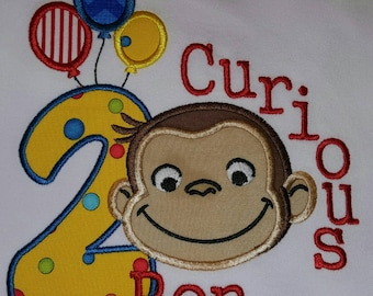 FLASH20 for 20% off!! Curious Monkey Birthday Shirt, Balloons Birthday Shirt