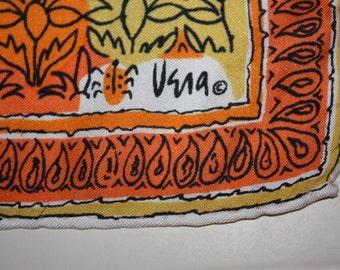 Very Vintage Vera Floral Orange, Yellow Colorful Silk Scarf