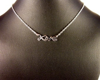 Sterling Silver LOVE Choker Necklace - #455