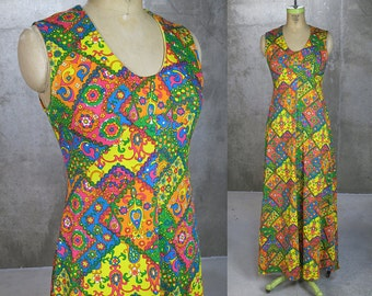 1960s Maxi Dress • Neon Floral Party Dress • Psychedelic Print • Vintage Maxi • Women's S/M