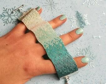 Peyote Stitch Cuff Bracelet PDF Pattern - Ombre Ice - Teal, Blue & Silver Bracelet Pattern - Beadwork Beading