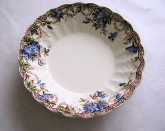 """Sydney Blue Spode Copeland Fruit Dessert Bowl*Chelsea Wicker China Blue Flowers*Scalloped Edge*5 1/4"""" Bowl*Blue and Brown*Fine China"""