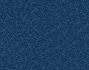 Dash Scallop Fabric - Blue - sold by the 1/2 yard