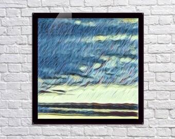 Velocity In Light Blue  / Acrylic Print / 36x24 / Pop / Graffiti / Modern