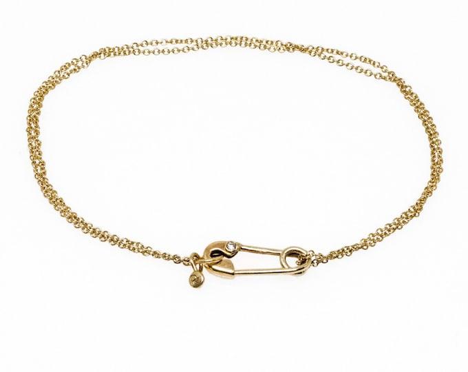 Solid 14 Karat Gold and Diamond Safety Pin Bracelet