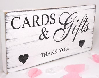 Free Standing White Wedding Table Sign / Plaque - Cards & Gifts - Shabby but Chic -Aged - Vintage Handmade