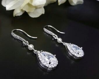Swarovski Pearl Earrings, Crystal Teardrop Earrings, Nickel Free Ear Wires, Cubic Zirconia Bridal Earrings, Wedding Jewelry Bridesmaid Gift