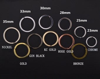 50PCS.Stainless Steel 25MM/28MM/30MM/33MM/35MM Flat-Wire Split Ring,Key Ring,1 inch Brass Split Ring,Link,Connector,Attachment