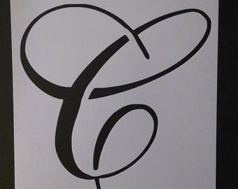 Large Big Script Cursive Letter C Custom Stencil FAST FREE SHIPPING