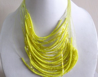 Bright Lemon Yellow Bead Necklace / Statement Necklace / Bib Necklace / Beaded Jewelry