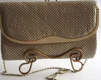 Vintage Shoulder Aluminum Mesh Bag, Wedding Handbag Clutch, Women's Formal Eveningr Handbag, 1960's Purses and Bags