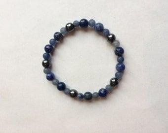 Migraine Healing Bracelet with Sodalite/Reiki Crystal Healing Jewelry