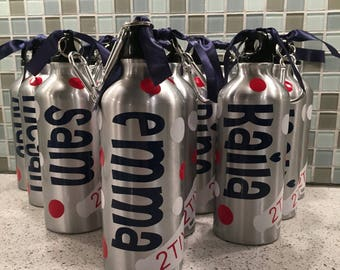 Personalized Aluminum Water Bottles - Back to School - Water Bottle Favors - Student Gifts - Team Gifts - BPA Free - Various Colors