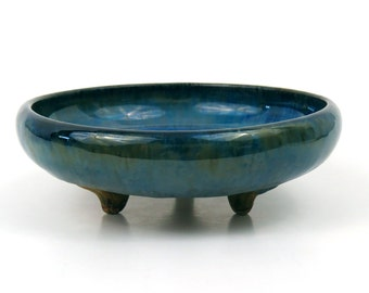SALE! Fulper Three-Footed Bowl - Blue Glaze