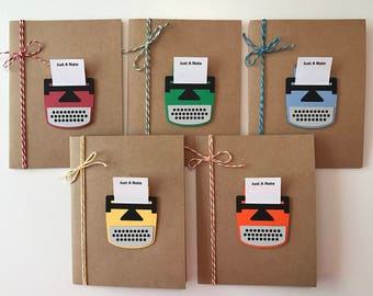 "Handmade Typewriter ""Just A Note"" Card Set of 5, Notes"