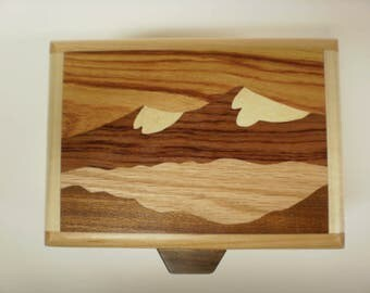 Handcrafted wood inlay box depicting snow-capped mountain peaks-box-2