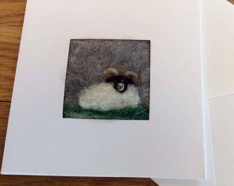 Woolly Ram needle felt greetings card. Needle felted picture on a linen panel in a blank card for your own message