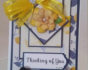 Handmade, Handcrafted,  Unique, Thinking of You Greeting card