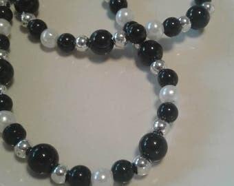 Black Beaded Stretch Necklace