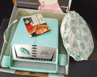 Hair Dryer Turquoise Original Box - Universal Handy Hannah - Movie Prop Photo shoot - Vintage Old Beauty Care Appliance