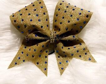 Confetti Gold With Royal Blue Rhinestone Cheer Bow