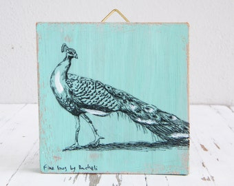 Miniature painting, Peacock print, print on wood, Wood signs, Cabin decor, Hipster wall decor, Aqua
