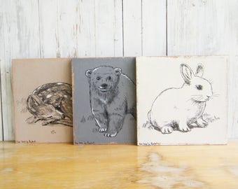 Woodland Nursery Decor, Set Of 3, Kids Wall Decor, Cute Animals Print, Nursery Art, Rustic Wood Signs, Woodland Animals print, Kids Gift