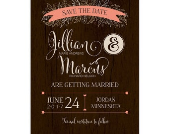 Rustic Romance Save the Date --- Printable ---- Card | Envelope