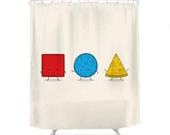 Bauhaus Pizza Shower Curtain - Cute Doodles