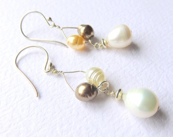Dainty Freshwater Pearl Earrings, Pearl Bridal Earrings, Sterling Silver Hand Forged Oval Hoops, Wedding Jewelry, Neutral Tones