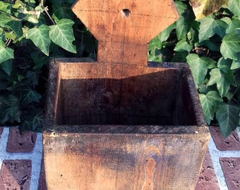 Antique Primitive Hand Carved Wooden Wall Hanging Kitchen Box