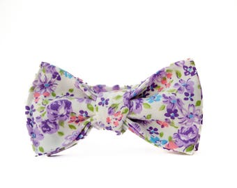 Floral Purple Bow Ties for Boys -  Baby Bow Ties - Easter Bow Ties - Wedding Tie - Bow Tie for Kids - Floral Bow Tie -  Wedding Tie for Boys