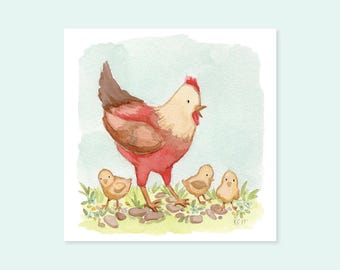 Cute Illustrated Mother Hen & Chicks Watercolor Art Print