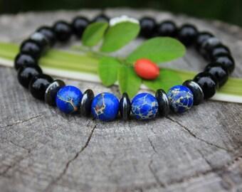 Black Onyx, Hematite & Jasper bracelet. Mens bracelet. Mens Jewelry. Protection bracelet. Grounding bracelet. Man bracelet. Gift for him.