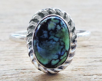 Chinese Turquoise Cabochon Sterling Silver Ring sz 8