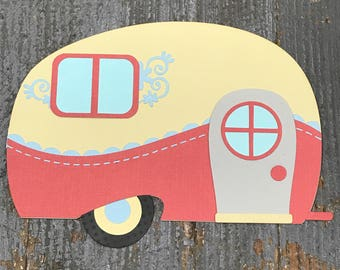 Camper Travel Trailer Handmade Cut Out Paper Scrapbook Embellishment Gift Package Tag