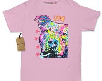 Pitbull Love Graffiti Womens T-shirt